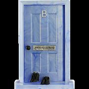 c.1950s Bourjois novelty bedroom door with Evening in Paris scent perfume bottle