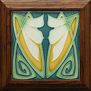 Rare c.1905 Art Nouveau stylised floral tile by Servais Werke Ehrang, framed