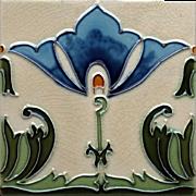 c.1900 Minton Hollins tubeline Art Nouveau tile