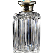 1855 Cut Crystal Scent Perfume Bottle with Silver Gilt Turquoise Top