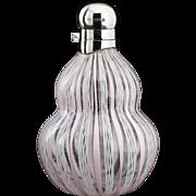 1927 Latticino Glass Scent Perfume Bottle, Sterling Silver Top