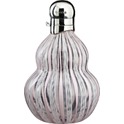 1927 Latticino Glass Scent Perfume Bottle, Sterling Silver Top