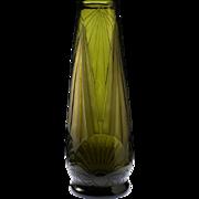 c.1930s French Legras Art Deco acid etched Neptune glass vase