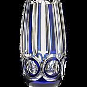 c.1930s Val St. Lambert blue overlay crystal Ulysse Deco vase by Joseph Simon