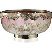 c.1920s French acid cameo lily of the valley bowl with plated rim, signed Lorraine