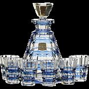 c.1950s-60s Val St. Lambert blue overlay Muscadet crystal decanter & glasses set