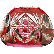 c.1920s-30s Val St. Lambert cranberry to clear crystal paperweight #5