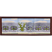 c.1905 M.O.&.P.F. Art Nouveau three tile garden wall set, framed