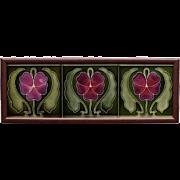 c.1905 Art Nouveau flower and leaf three tile panel, Ernst Teichert Meissen, framed
