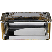 c.1950s Val St. Lambert engraved & gilded crystal box & cover, signed