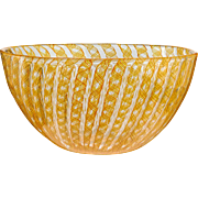 c.1970s-80s Barovier Toso zanfirico latticino bowl, signed