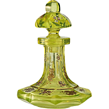 c.1860 enamelled Vaseline uranium cut glass dressing table scent perfume bottle #2