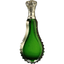 c.1880 French cased emerald crystal scent perfume bottle, silver top