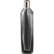 c.1810 French cut glass scent perfume bottle, silver top
