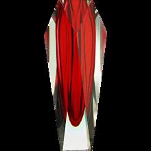 c.1960-70s Murano triple cased sommerso glass vase
