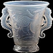 c.1930s Barolac Inwald Deco opalescent relief moulded seashores glass vase