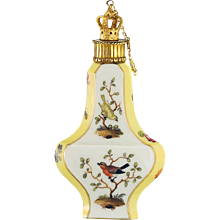 c.1890 Continental porcelain scent perfume bottle decorated with birds