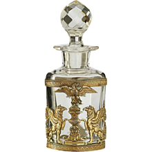 c.1870 French Empire style crystal perfume scent perfume bottle with ormolu mount