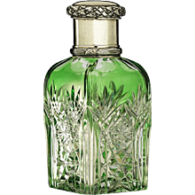 c.1890 French green overlay crystal dressing table scent perfume bottle, plated top