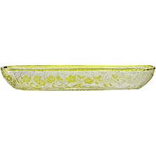c.1920s lime green cameo glass trinket tray, probably Baccarat