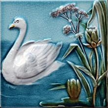 c.1900 Villeroy & Boch five tile Art Nouveau swans set, framed