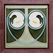 c.1905 Boizenburg German Art Nouveau tile, framed
