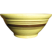 Grandma's Old Farm Kitchen Yellowware Mixing Bowl - Brown Stripes