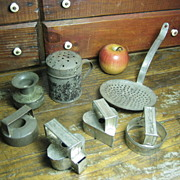 Early Old Primitive Metalware Tinware Grouping ~ Shaker, Mold, Sieve, Etc.