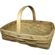 Early Old Primitive Small Oak Splint Farmhouse Gathering Basket