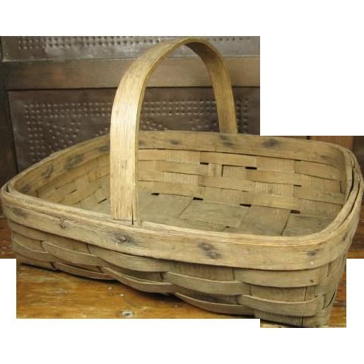Early Old Primitive Small Oak Splint Farmhouse Gathering Basket