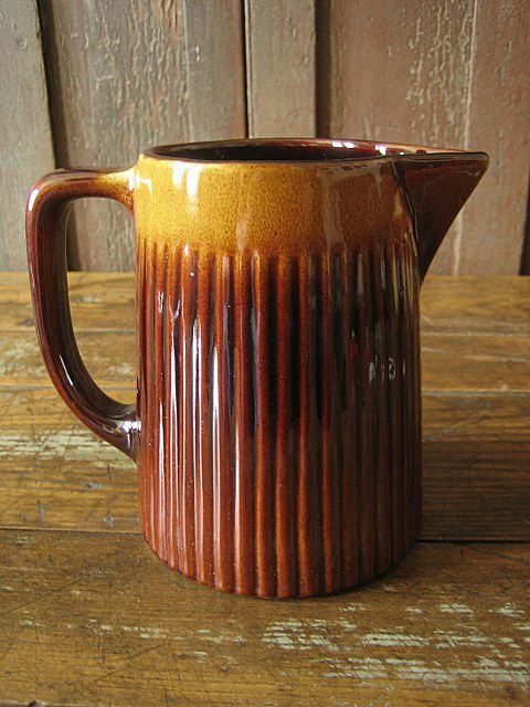 Gorgeous Old Shaded Stoneware Milk Pitcher
