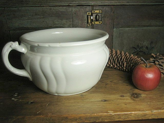 Great Old White Ironstone Chamber Pot Johnson Bros