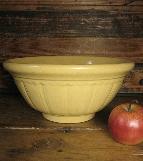 Great Granny's Gorgeous Early Old Thick Embossed Yellowware Mixing Bowl