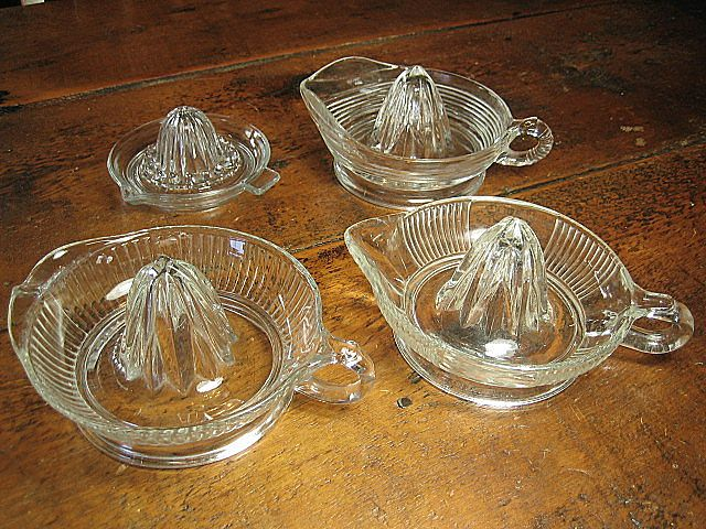 Grandma's Set of Four Retro Kitchen Vintage Glass Juicers