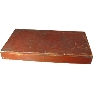 Wonderful Old Antique Wooden Flat Stacking Box with Hinged Lid and Old Barn Red Paint