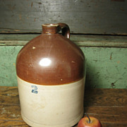Great Old Primitive Two-Tone 2 Gallon Stoneware Jug ~ Cobalt Stencil