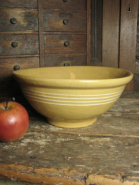 Grandma's Favorite Old Thick Yellowware Mixing Bowl w/ Four White Stripes