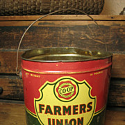 Old 'Farmers Union' Grease Advertising Tin Pail w/ Bail Handle