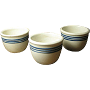 Set of Three Old White Pottery Custard Cups w. Three Cobalt Blue Stripes