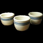 Set of Three Old White Pottery Custard Cups w. Three Cobalt Blue Stripes
