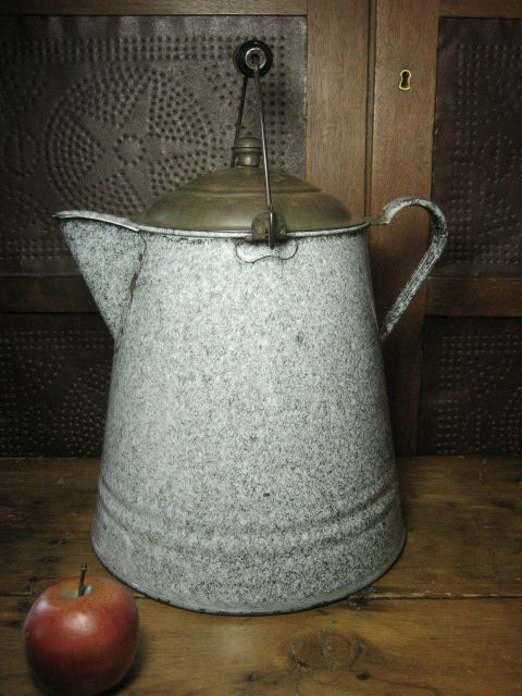 Grandma's Favorite Old Large Farmhouse Kitchen Speckled Graniteware Coffee Boiler