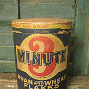 Sweet Old '3 Minute' Bran and Wheat Flakes Round Box – Advertising – Cedar Rapids, Iowa