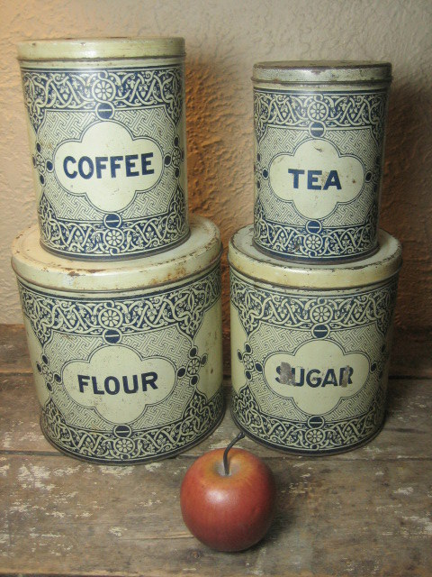 Grandma's Old Primitive Country Farmhouse Kitchen Tin  Canisters – Blue and White