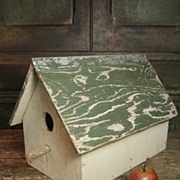 Grandpa's Large Old Hand Made Double Hole Wooden Birdhouse - Old Cream and Green Paint