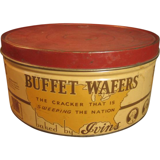 Large Old Round Vintage 'Buffet Wafers' Cracker Advertising Tin – J.S. Ivins' Son, Inc. – Philadelphia