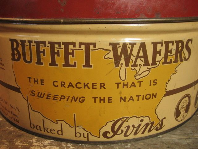 Large Old Round Vintage Buffet Wafers Cracker