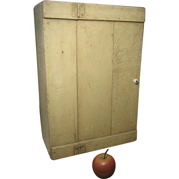 Wonderful Old Primitive Wooden Hand Made Wall Cupboard – Old Paint