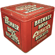 Fabulous Old Vintage Bremner Bros. Elfin Biscuits Tin Advertising Box - Hinged Lid - Excellent Condition - RED