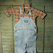 Old Vintage Baby B'Gosh Blue Jean Overalls w. Little Flannel Shirt
