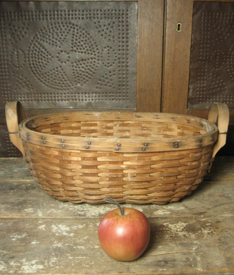 Sweet Old Oval Ash Splint Farm Basket w. Bentwood End Handles – Unusual Smaller Size
